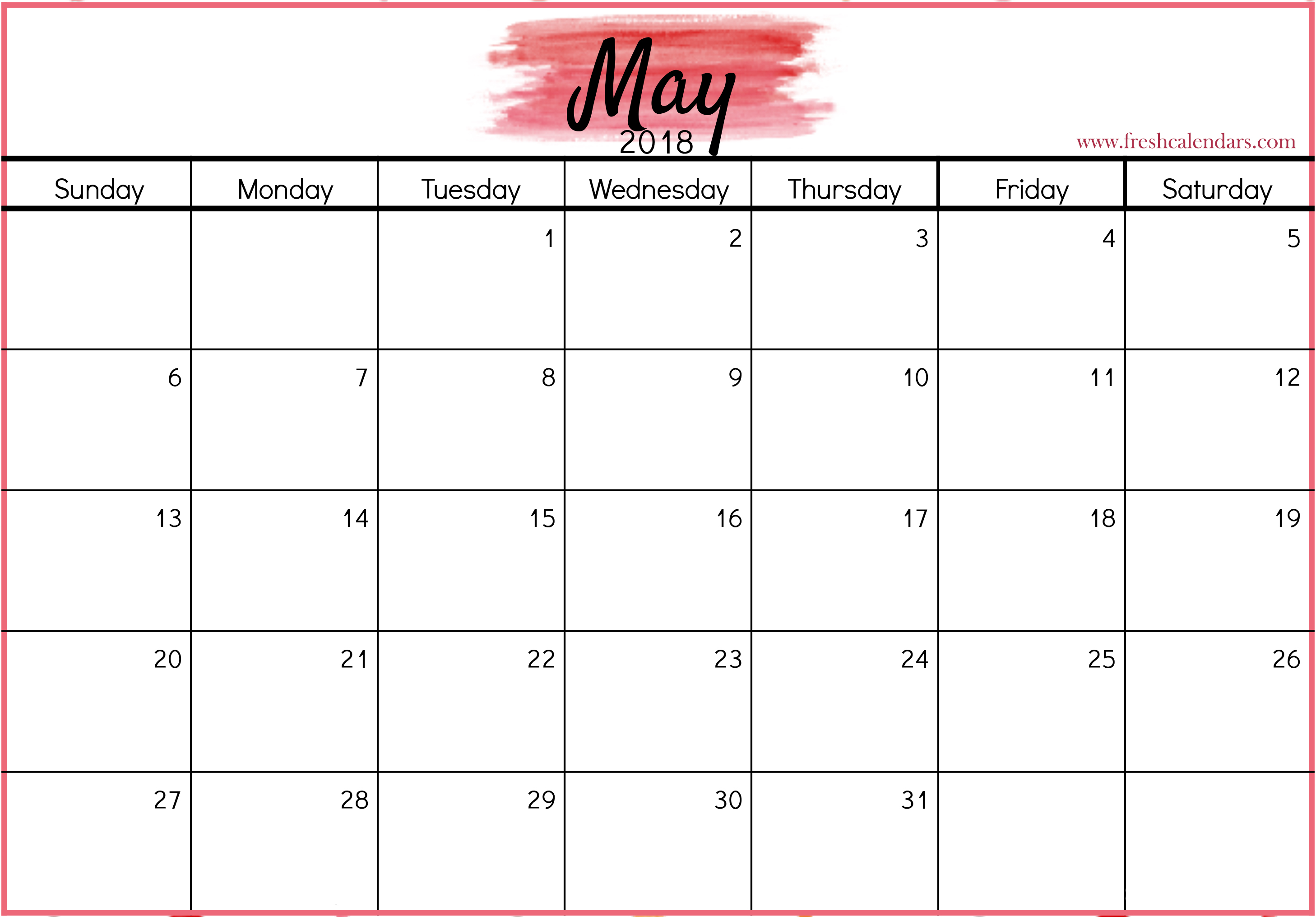 May 2018 Calendar Pink Color