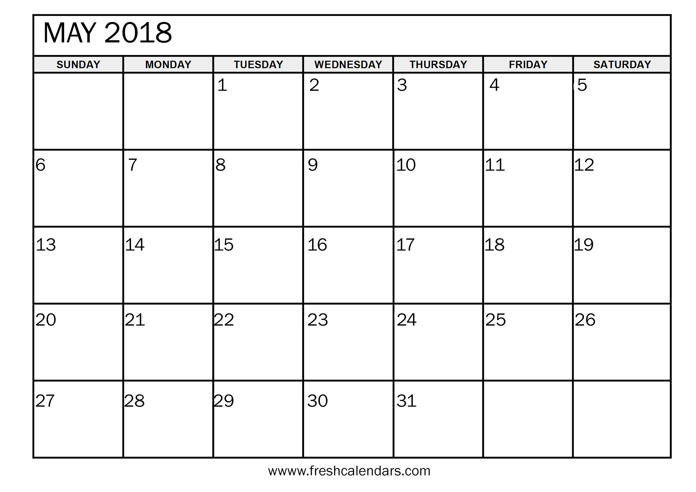 May 2018 Calendar Printable | FreshCalendars.com