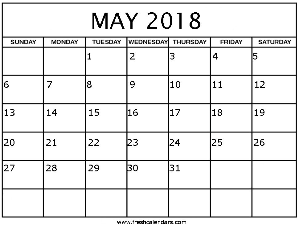 May 2018 Calendar Template | FreshCalendars.com