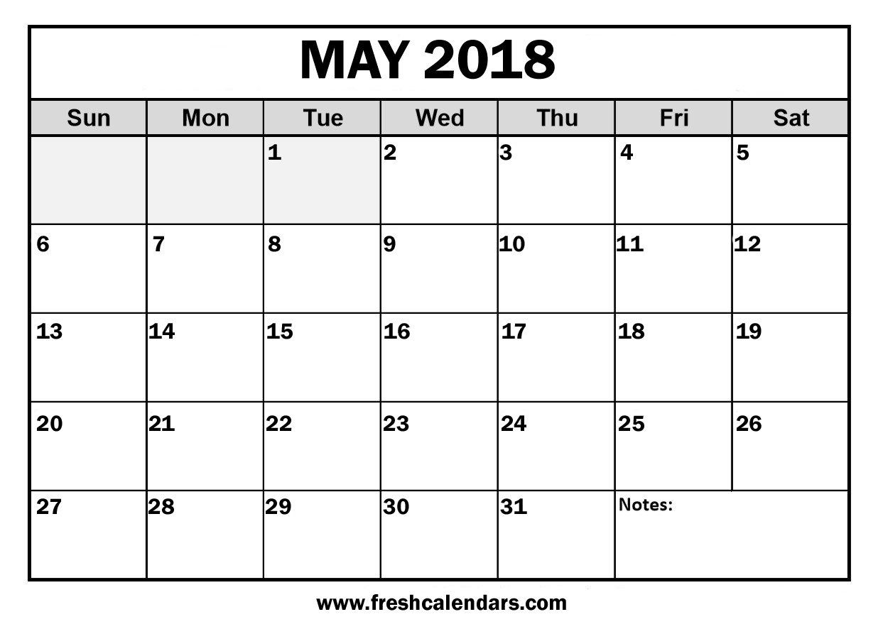 May 2018 Calendar, May Calendar of 2018 Blank Printable Download | FreshCalendars.com