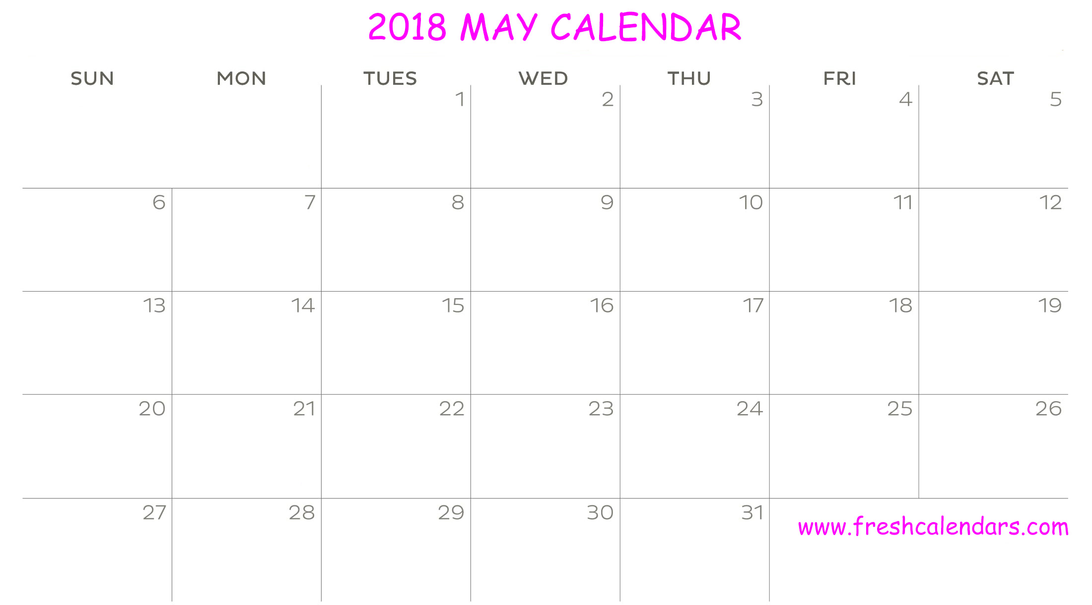 New Design Calendar of May 2018