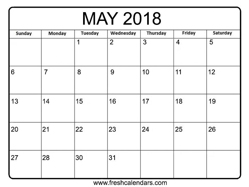 may 2018 calendar printable templates