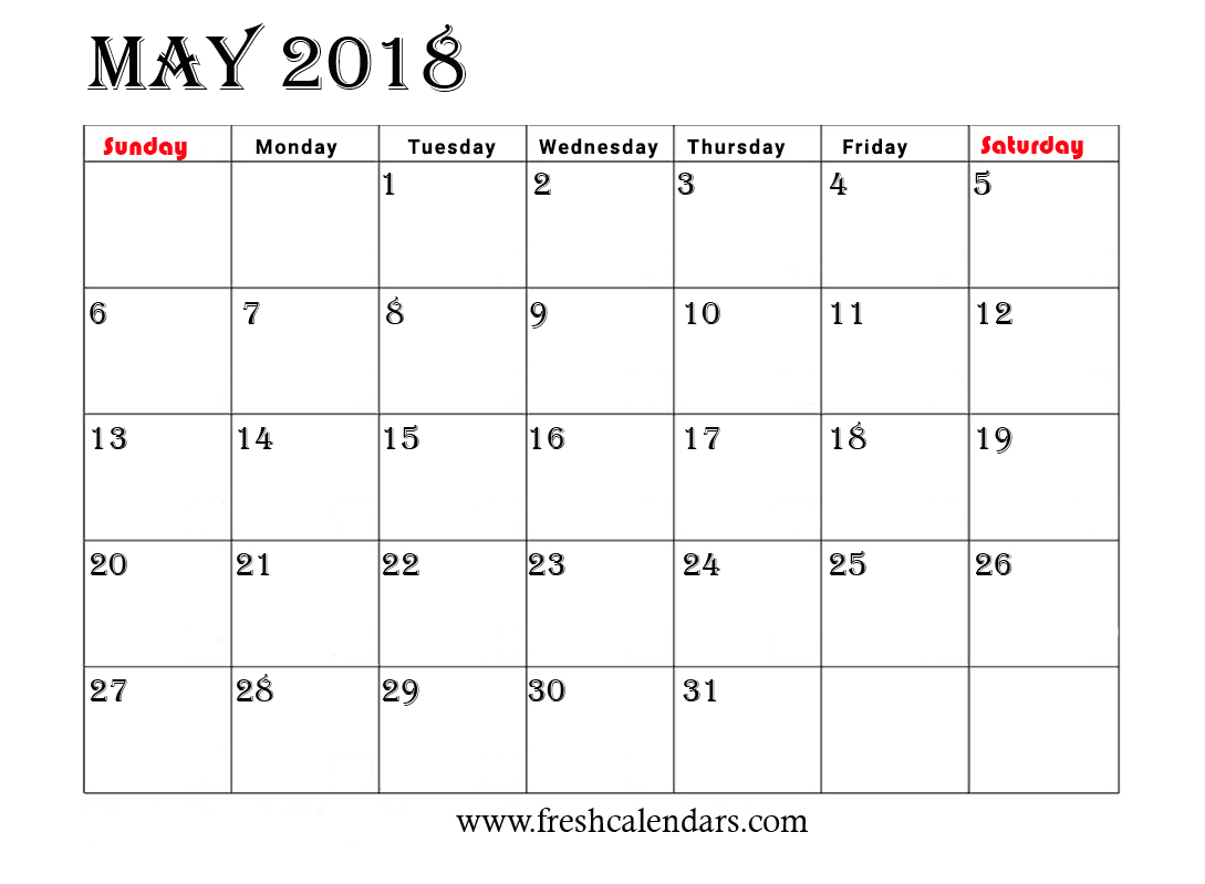 Simple and Strong May 2018 Calendar Printable Template