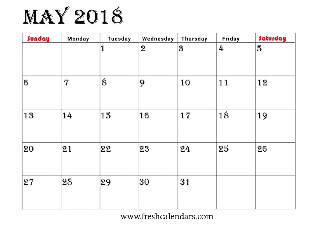 simple calendar template 2018