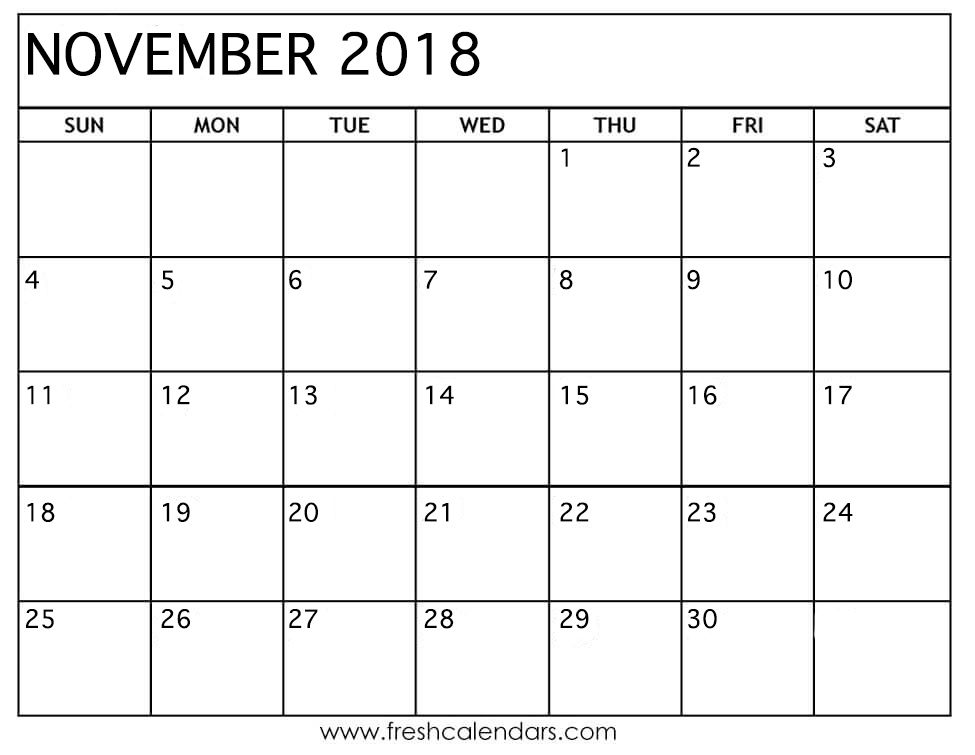 2018 november calendar printable free download