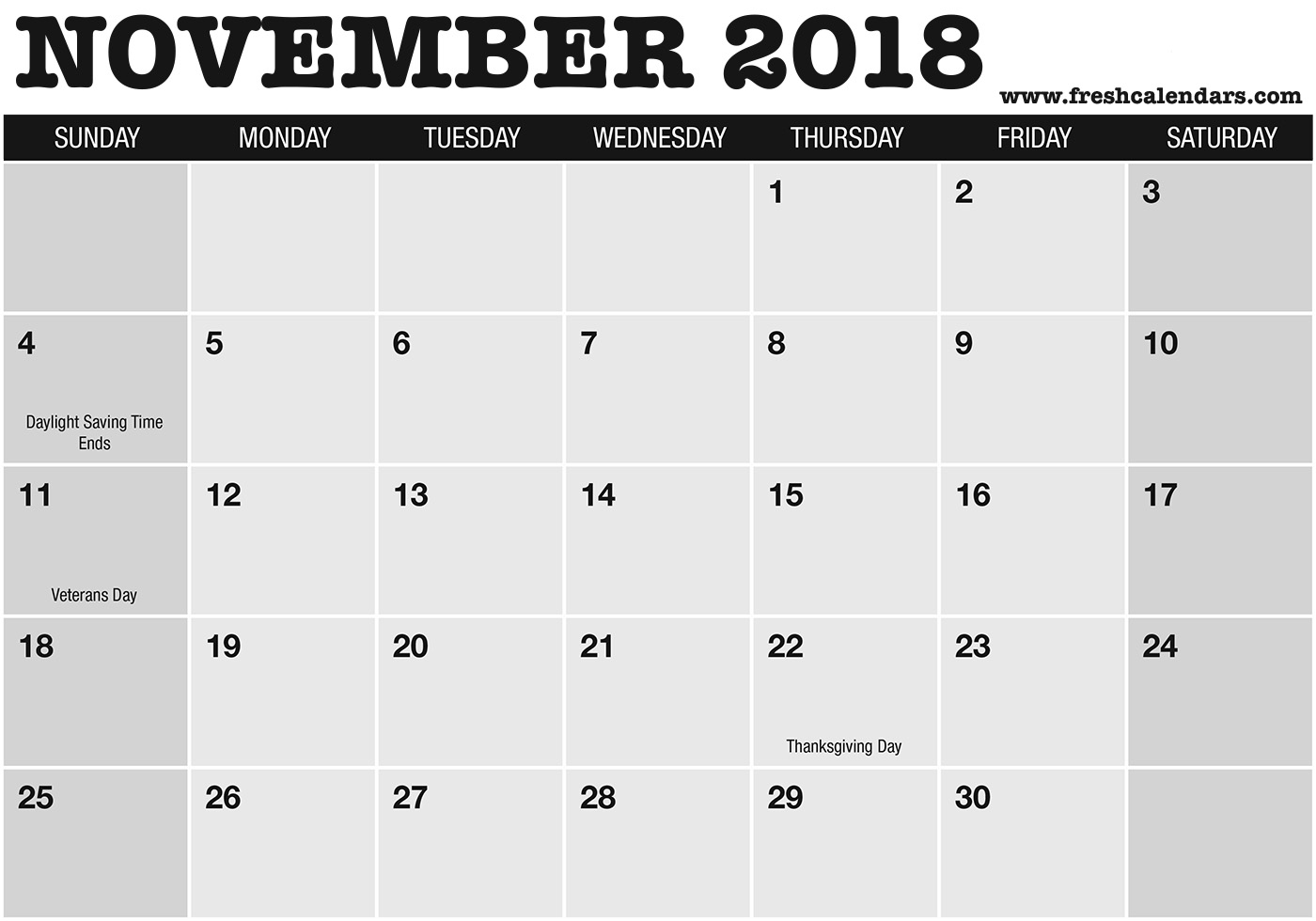 Bold and Professional Nov 2018 Calendar