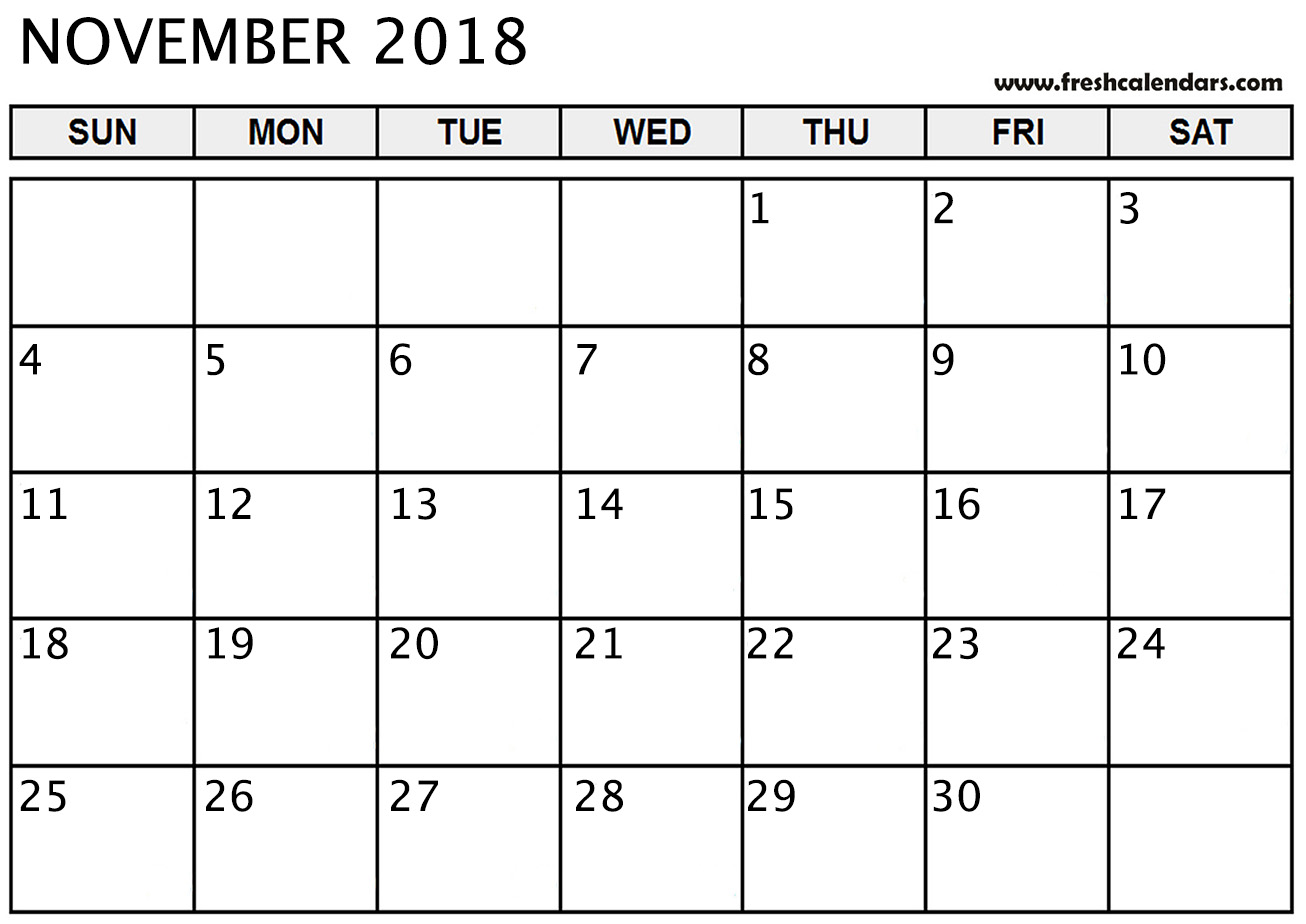 graphic regarding Free Printable Nov Calendar called November 2018 Calendar Printable - Clean Calendars