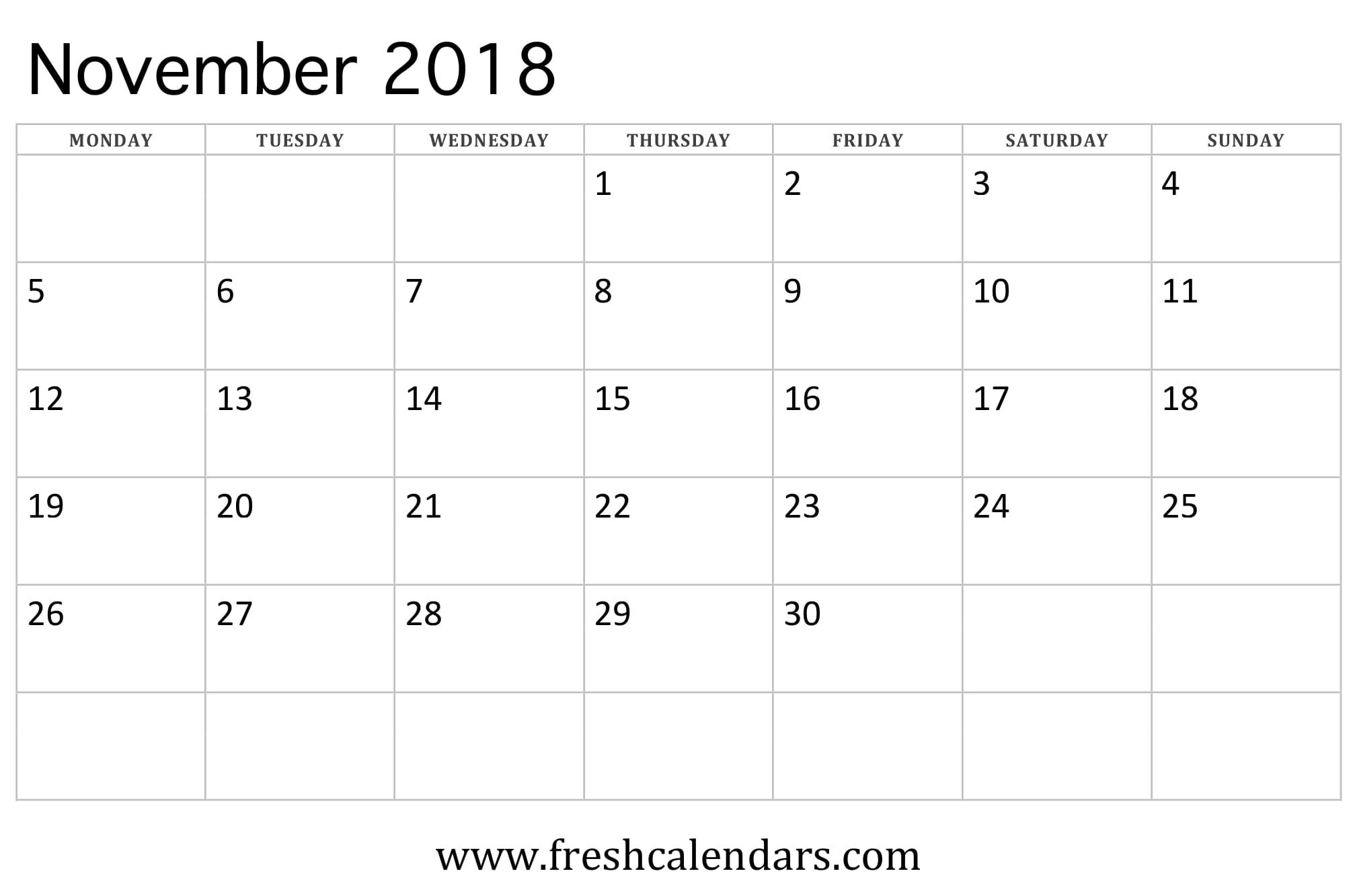 November 2018 Calendar (week starts on monday)