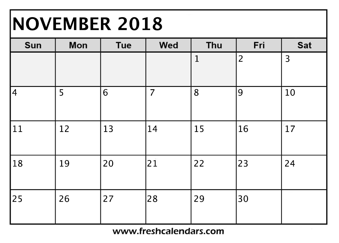 picture relating to Nov Calendar Printable Pdf referred to as November 2018 Calendar Printable - Fresh new Calendars