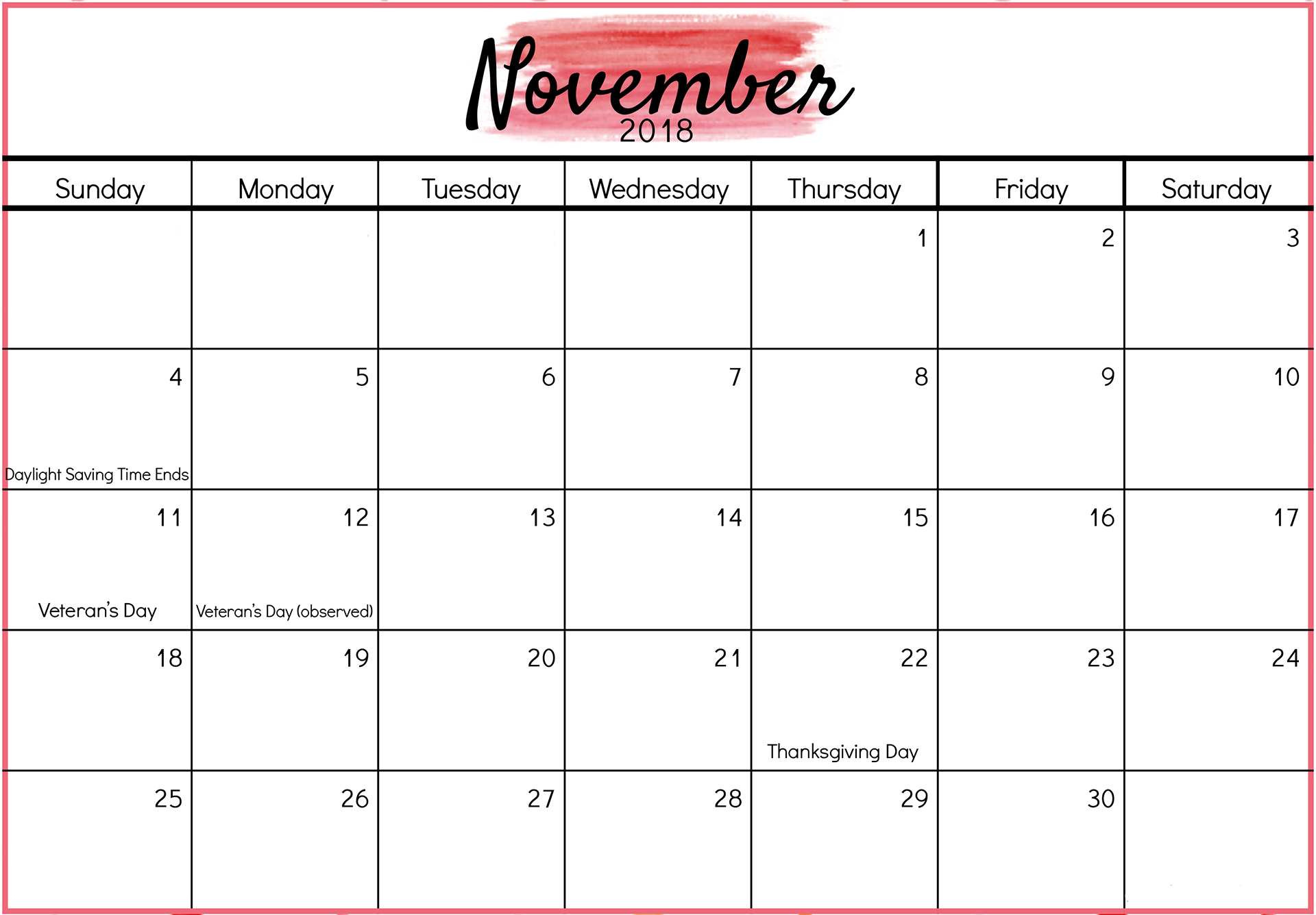 November 2018 Blank Calendar with Holidays Printable Template