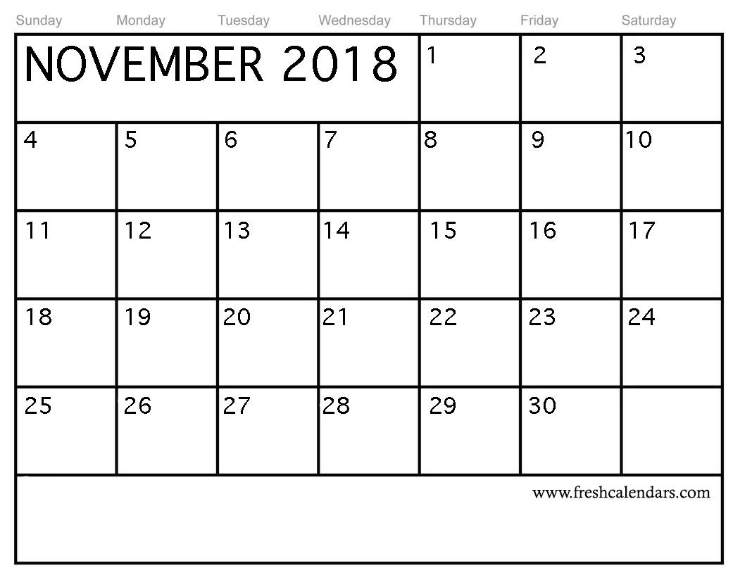 November 2018 Calendar Printable Templates