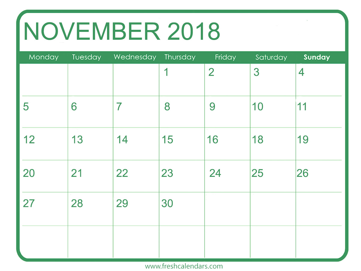 November 2018 Printable Calendar Green Templates
