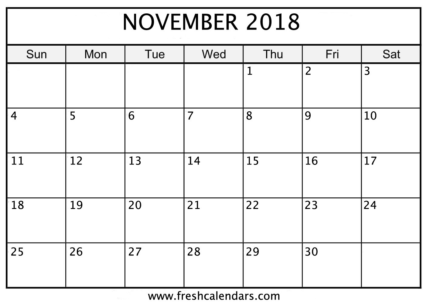 Blank November 2018 Calendar Printable Free