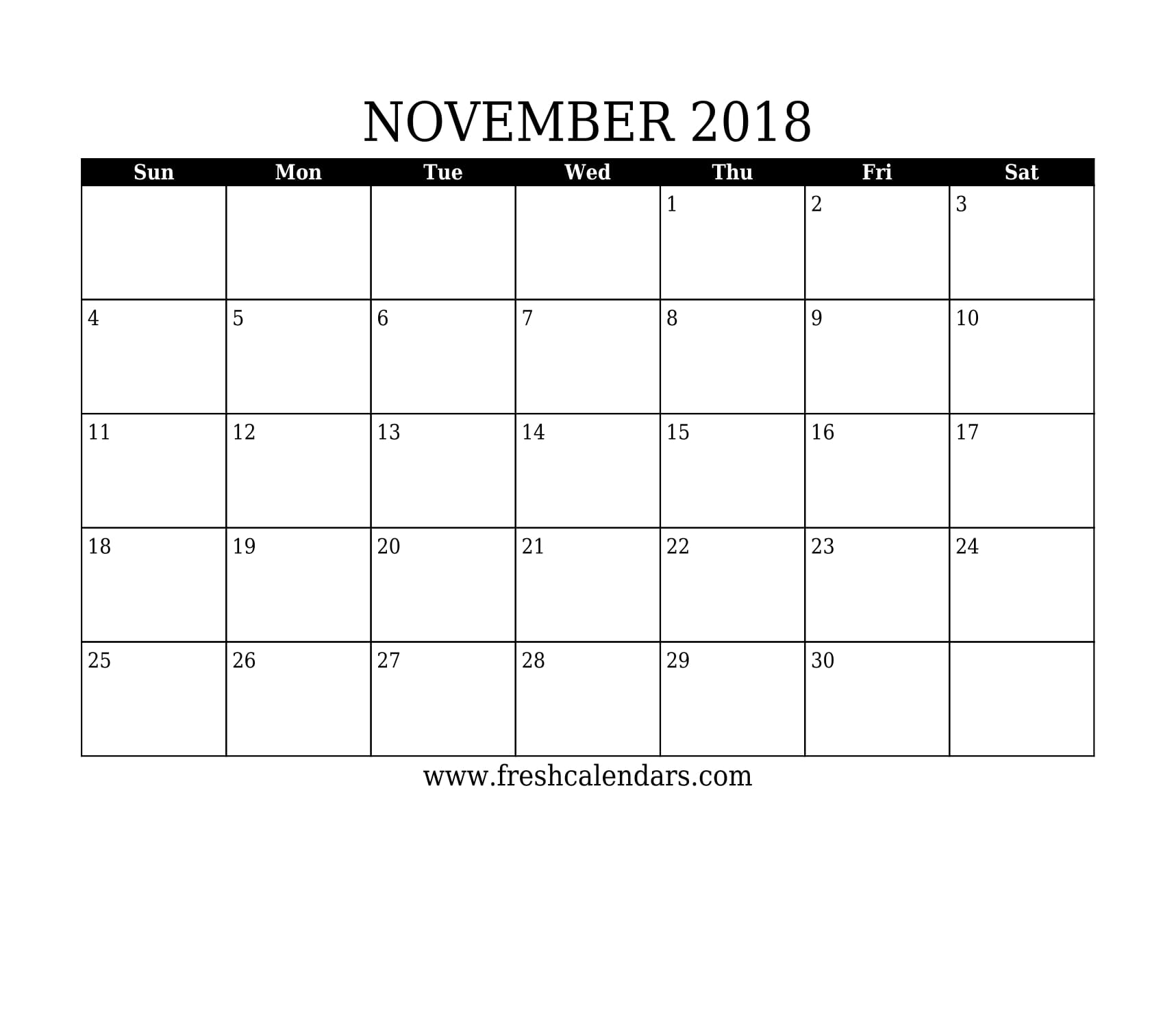 simple and strong november 2018 calendar printable template
