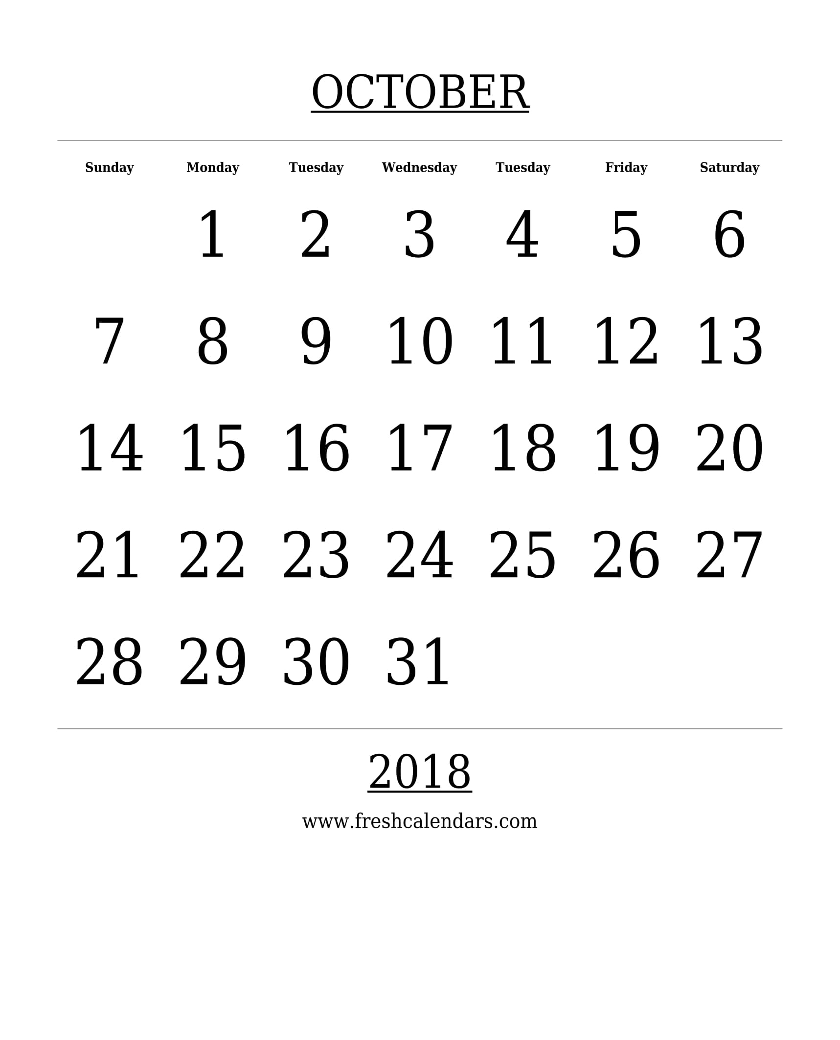 free printable template october 2018 calendar bold style