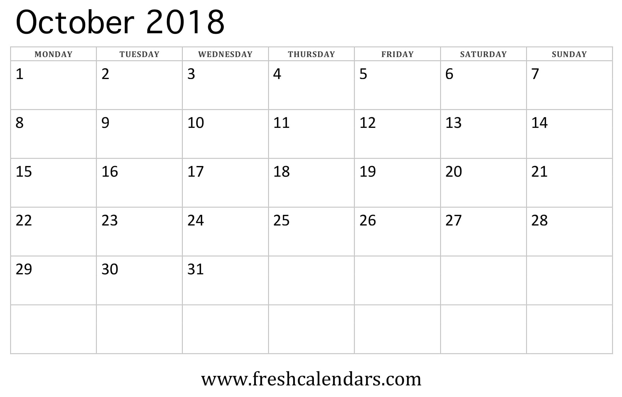 October 2018 Calendar (week starts on monday)