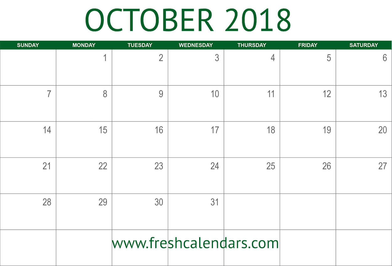 october 2018 calendar printable green