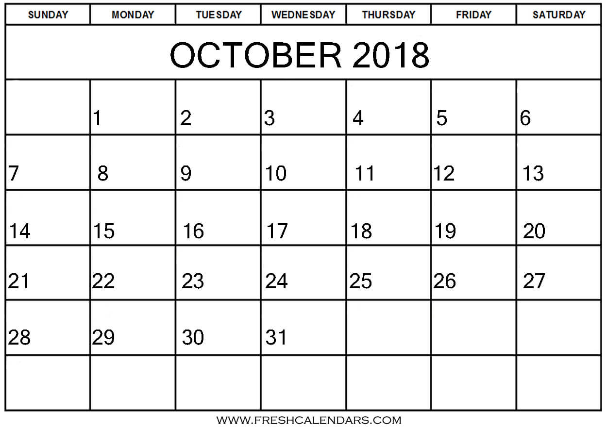 October 2018 Calendars Free Download Online
