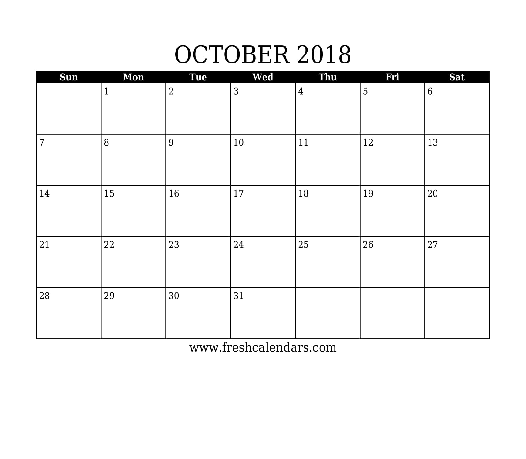 Simple and Strong October 2018 Calendar Printable Template