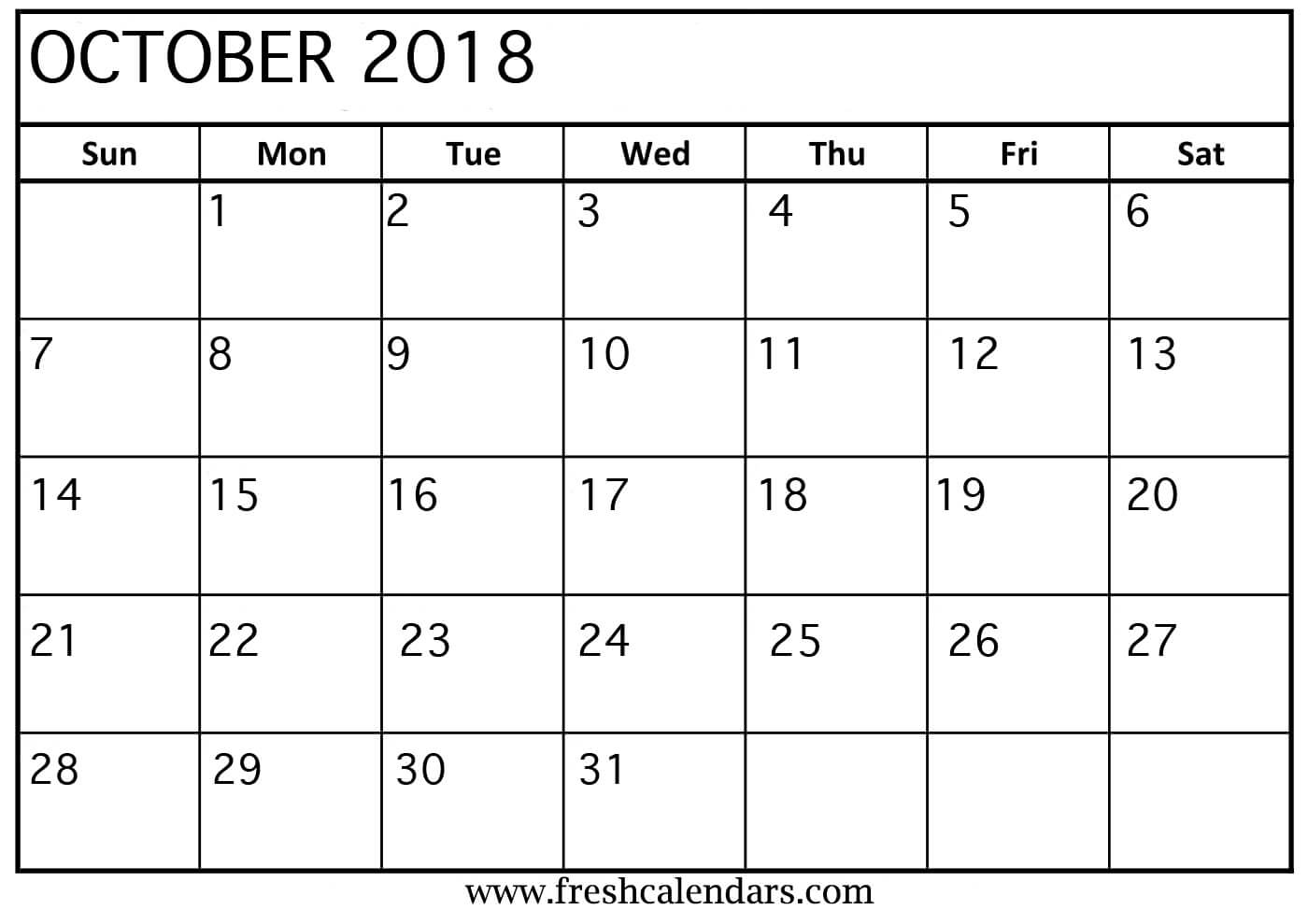 printable october 2018