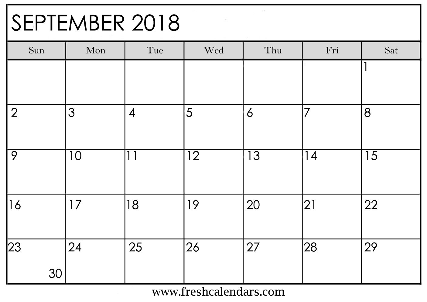 photo about September Printable Calendar known as September 2018 Calendar Printable - Refreshing Calendars
