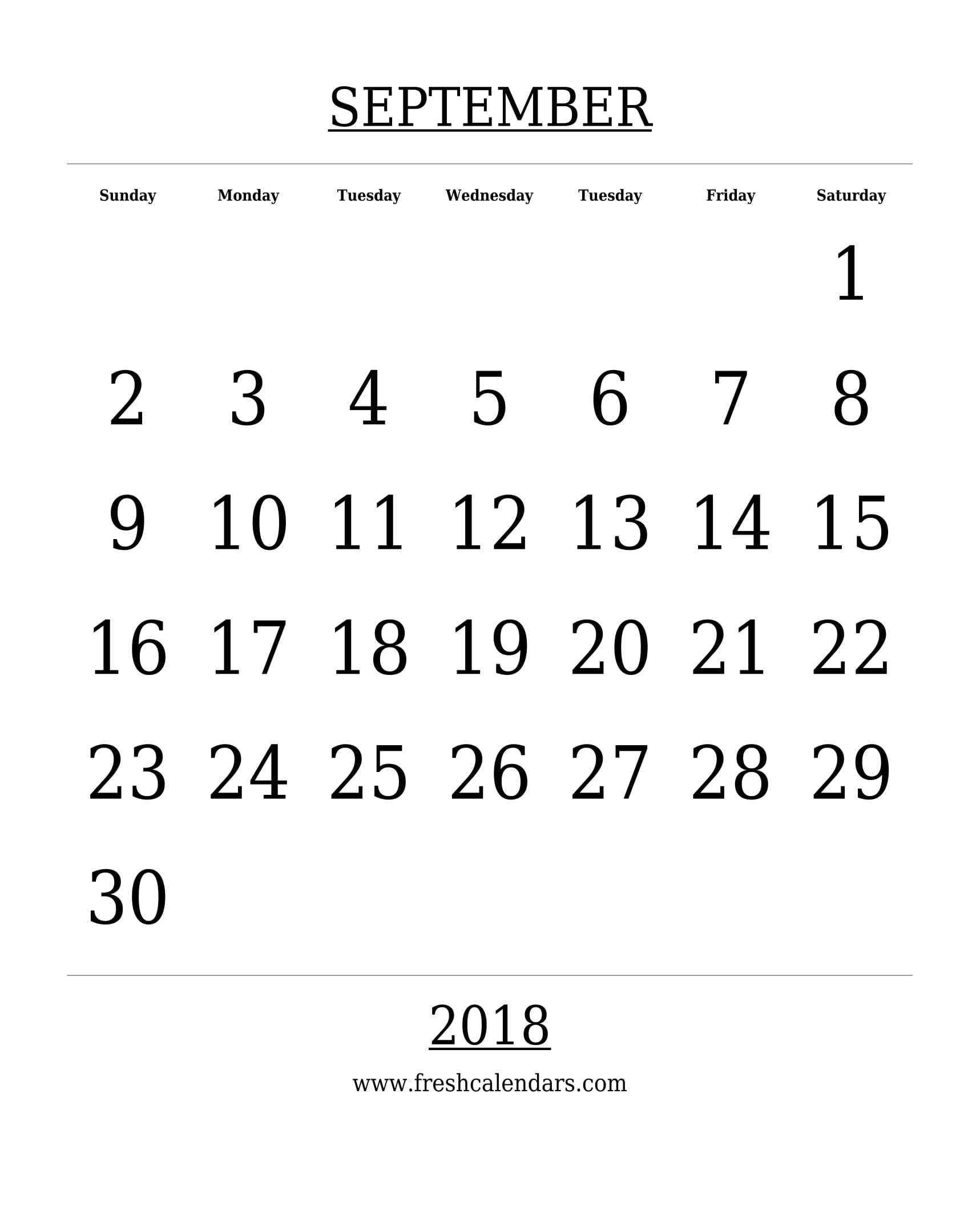 photo relating to Free Printable Calendar Numbers named September 2018 Calendar Printable - Fresh new Calendars