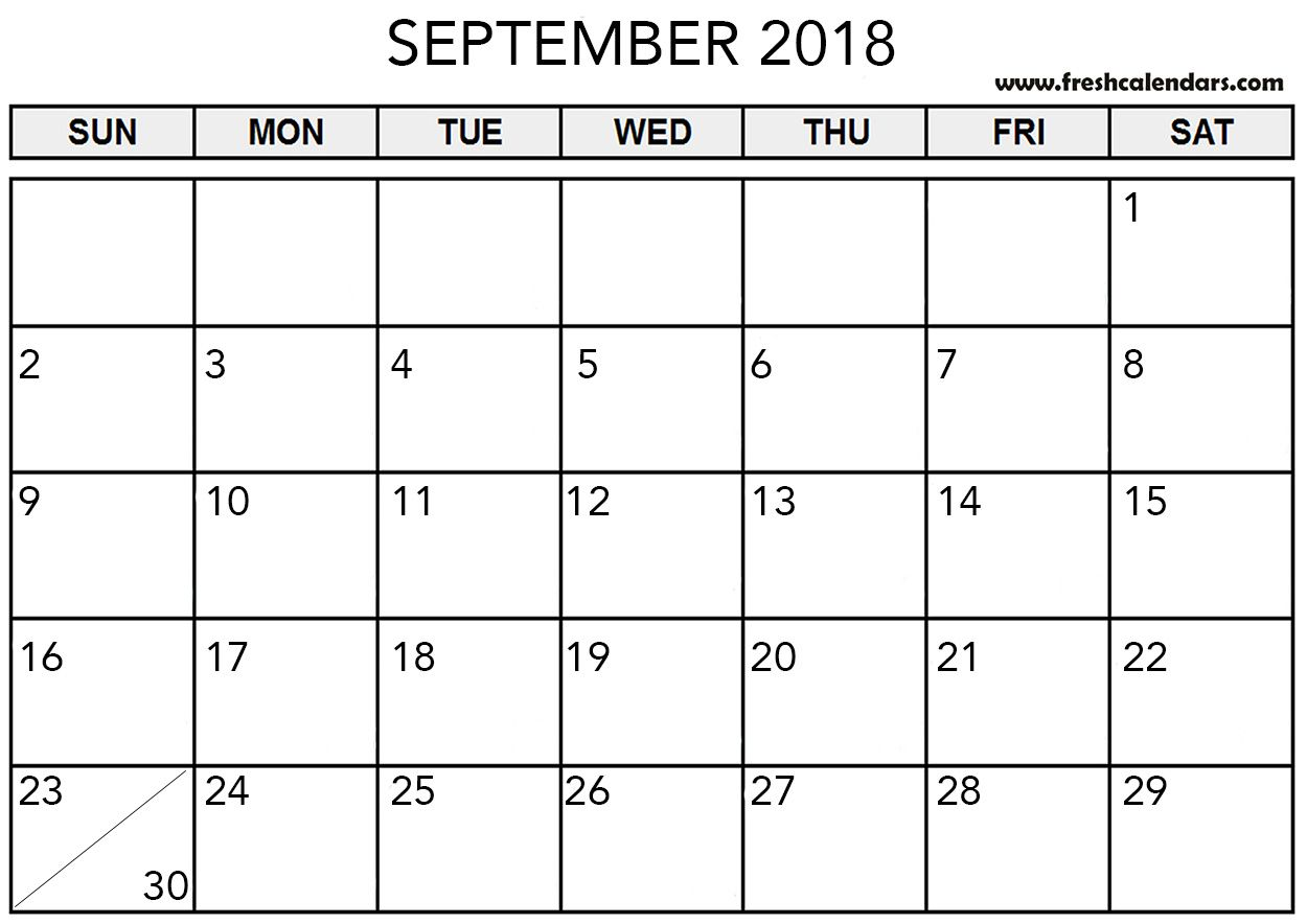 Pdf September Calendar 2018 With Holidays