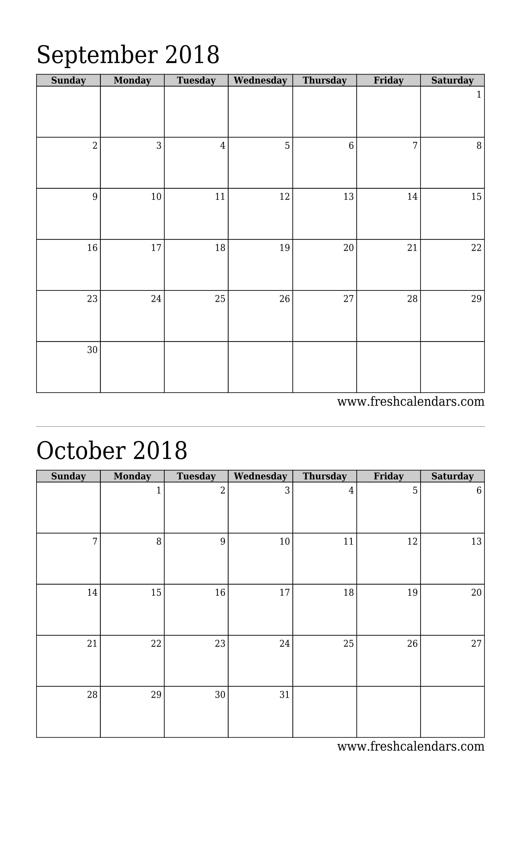 image about Printable 2 Month Calendar called September 2018 Calendar Printable - Fresh new Calendars
