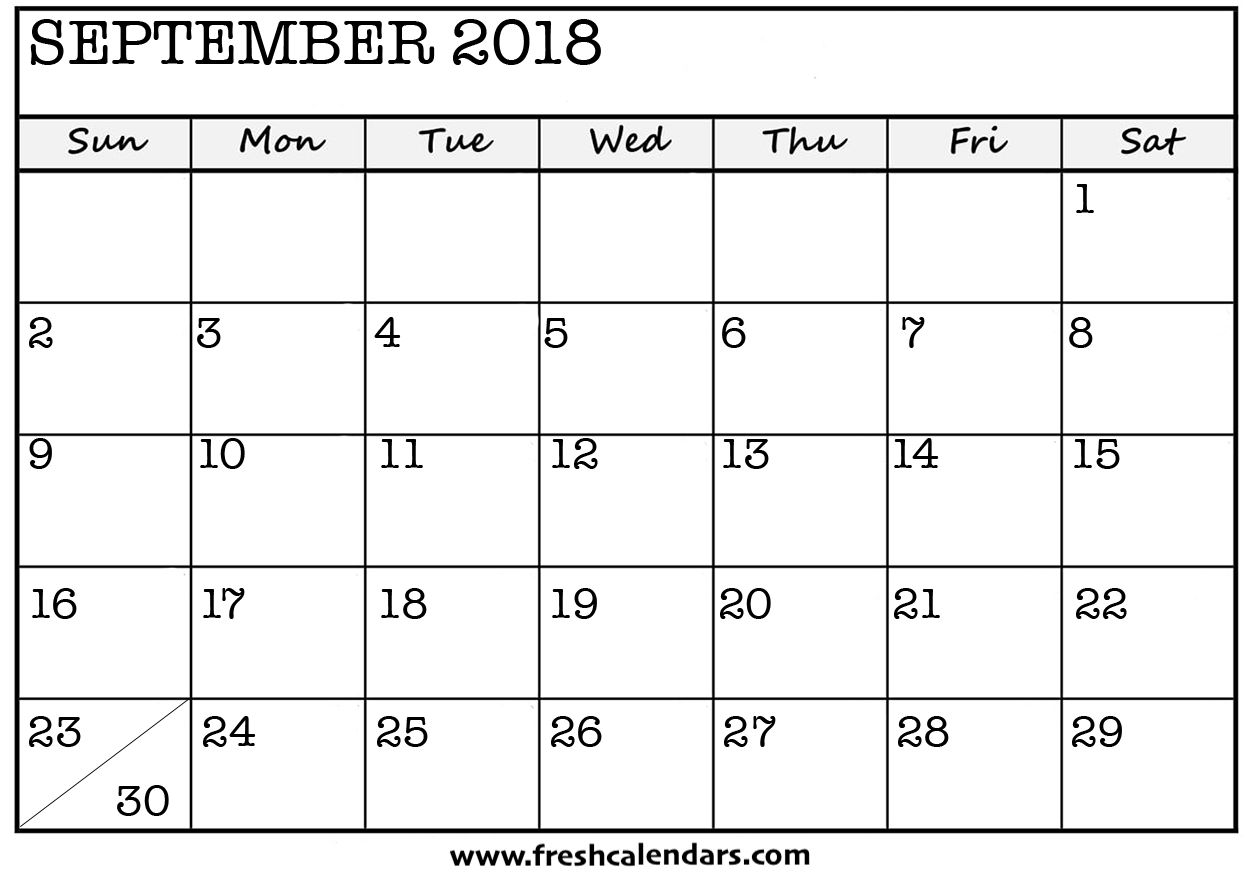 Blank September 2018 Calendar Printable Templates