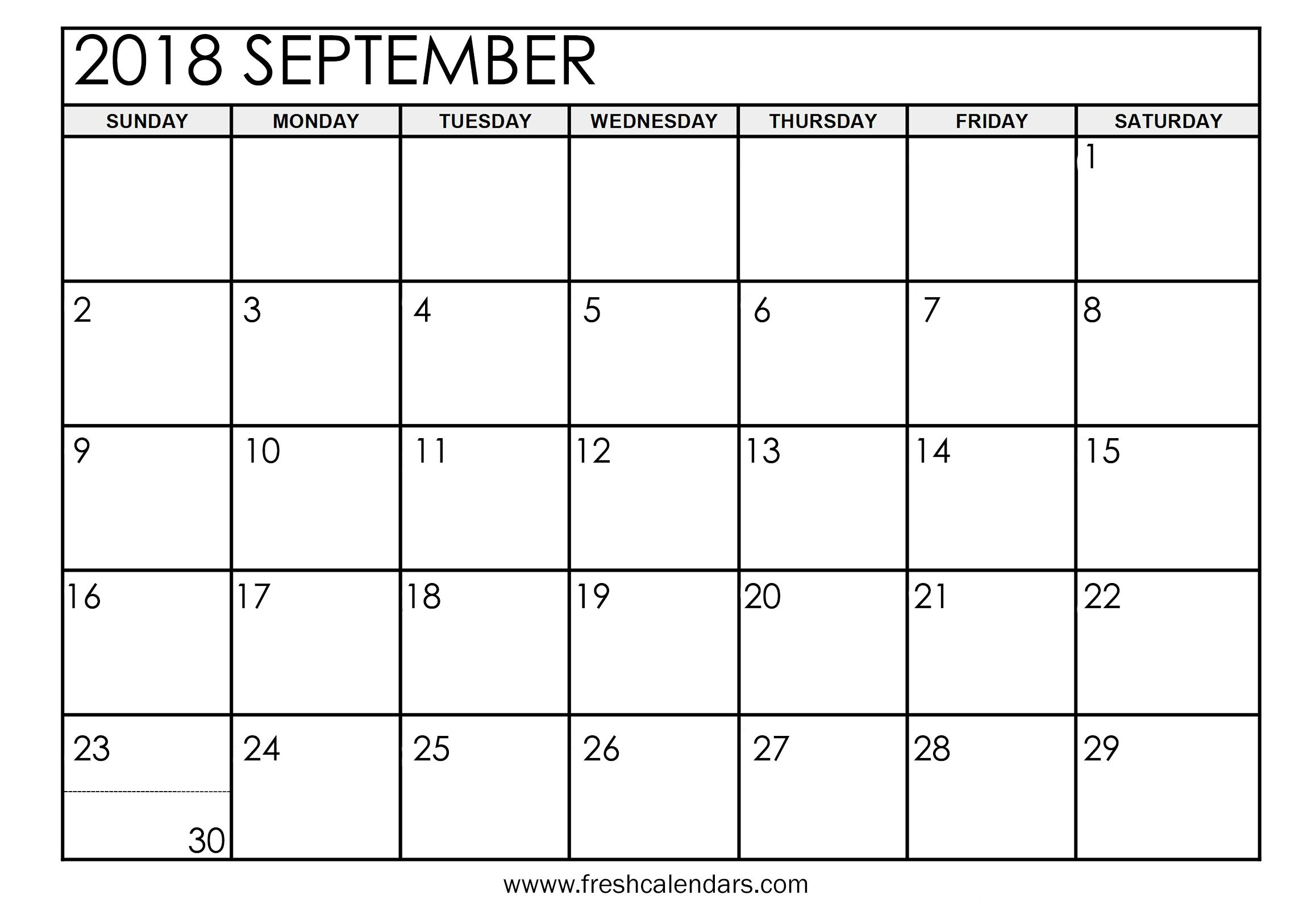 picture regarding Printable September Calendar titled September 2018 Calendar Printable - New Calendars