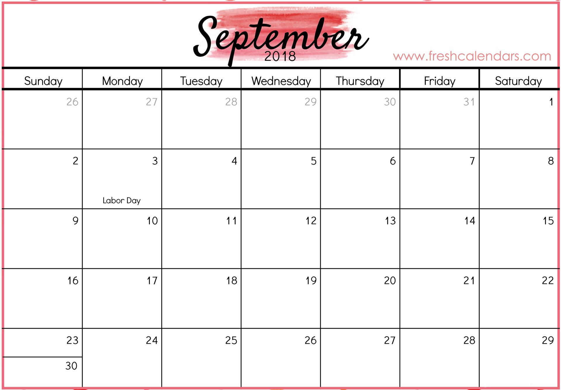 photograph about September Printable Calendar known as September 2018 Calendar Printable - Clean Calendars