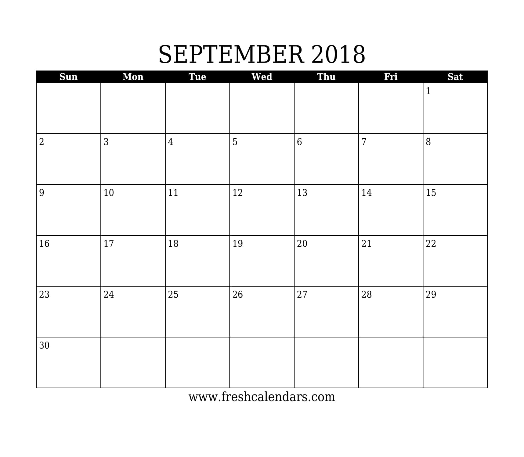 Simple and Strong September 2018 Calendar Printable Template