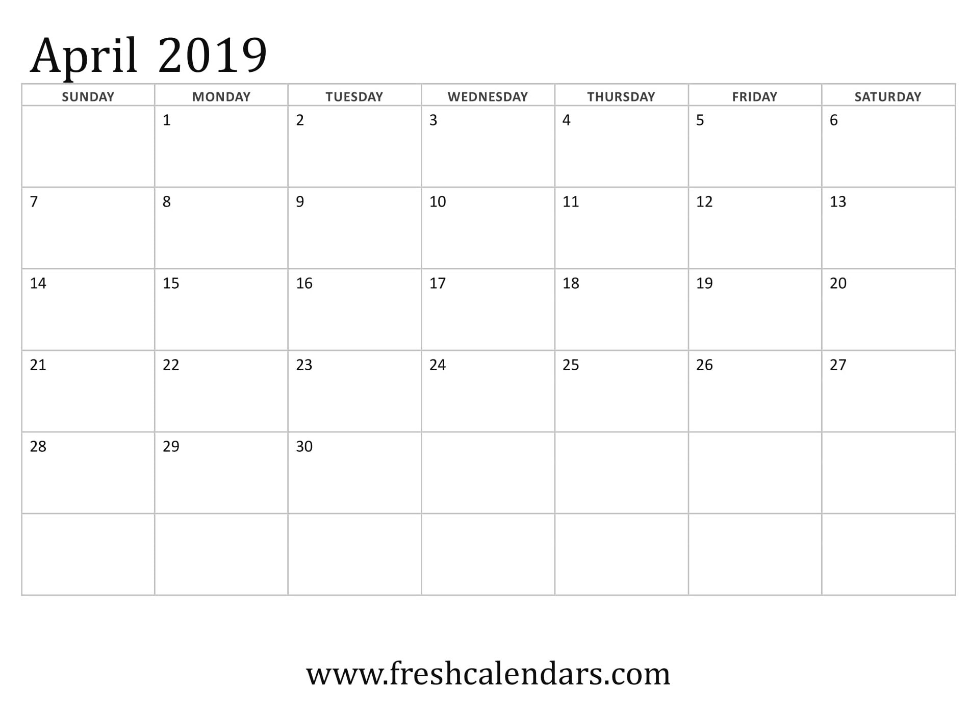 April 2019 Calendar Basic Template