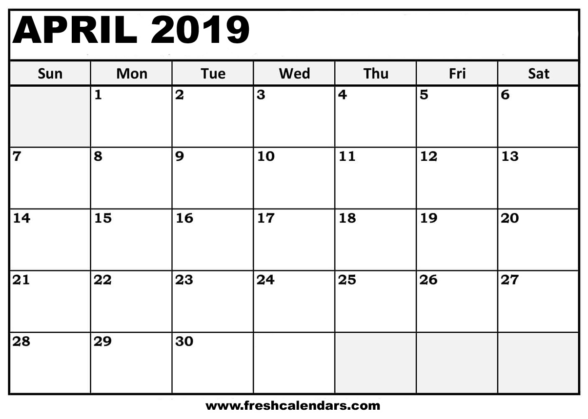 April 2019 Calendar Professional