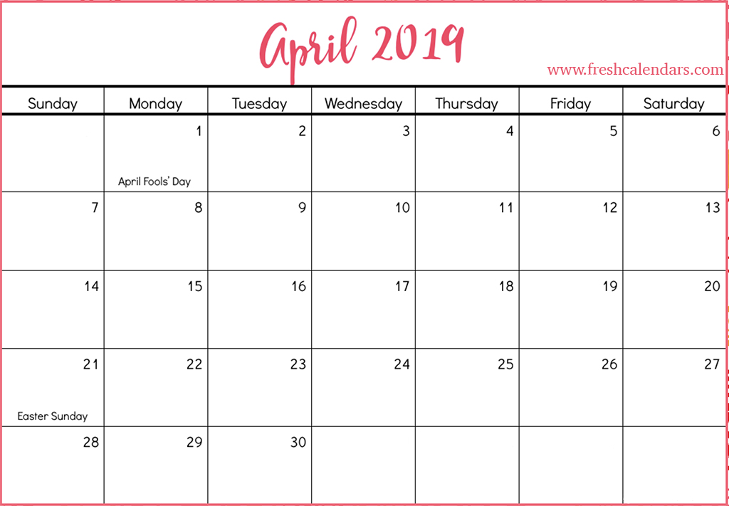 April Calendar Easter : April printable calendars fresh