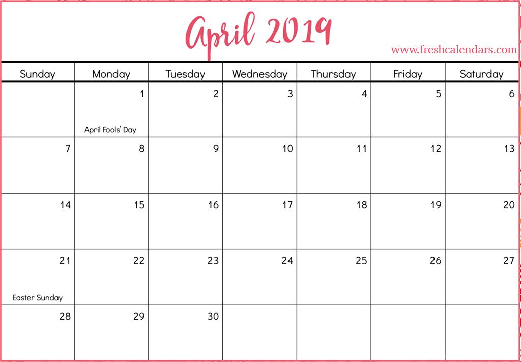 graphic regarding Printable April named April 2019 Calendar Printable - Clean Calendars