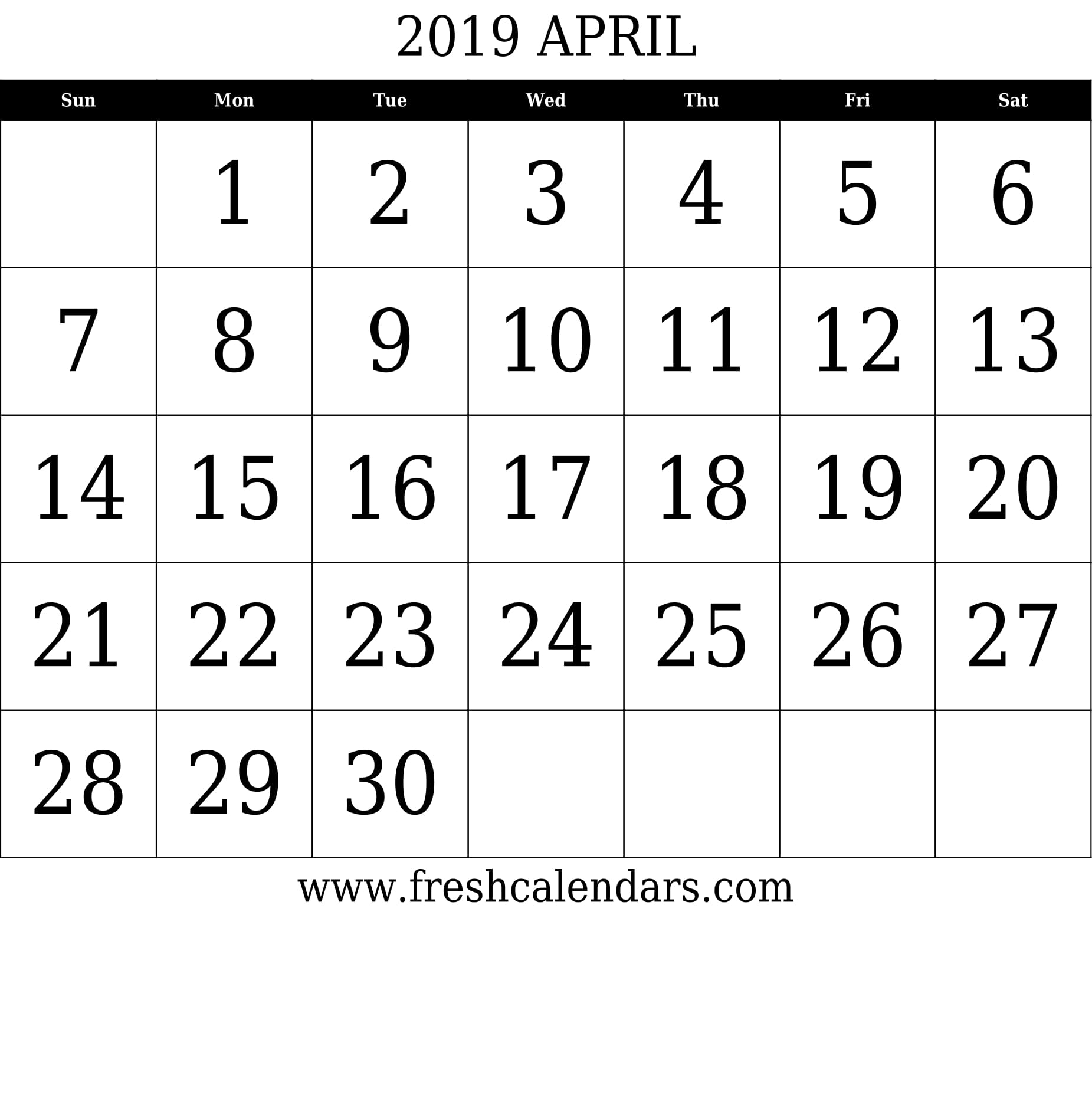 April 2019 Calendar With Large Dates