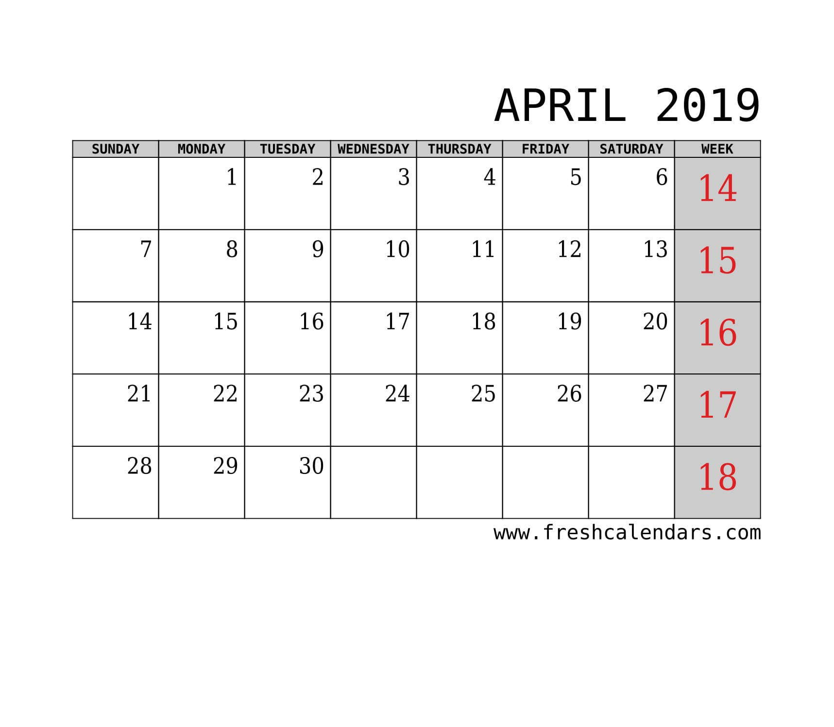 April 2019 Calendar With Week Template Printable