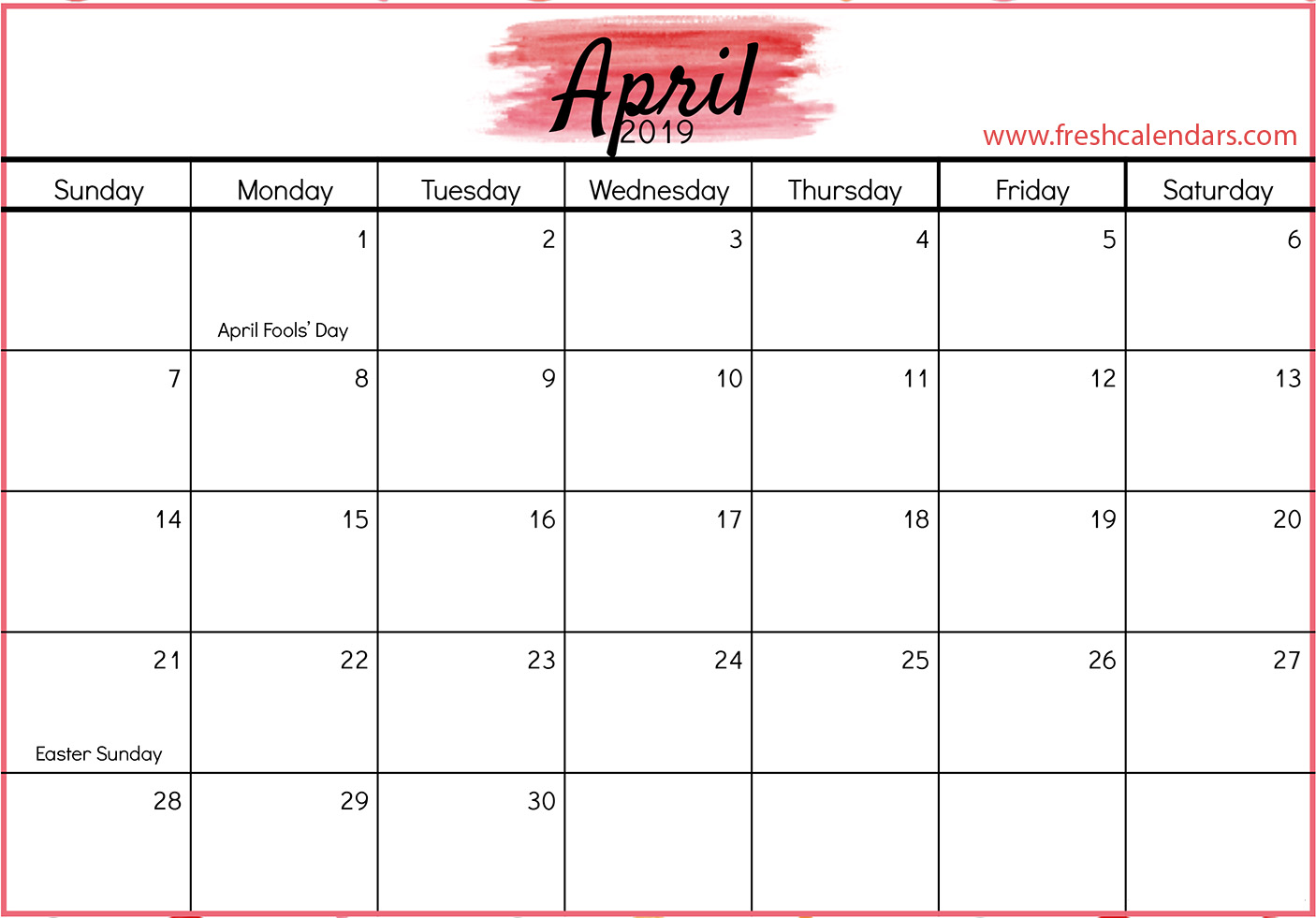 April 2019 Calendars Red Template