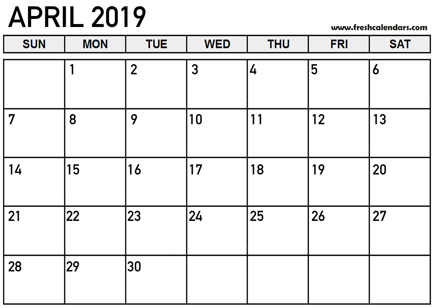 Bold and Simple April 2019 Calendar