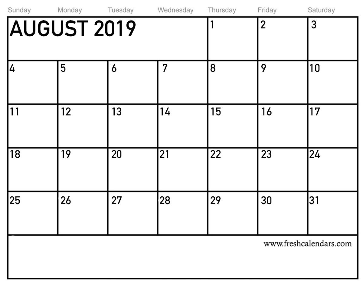 August Calendar August 2019 Cal...