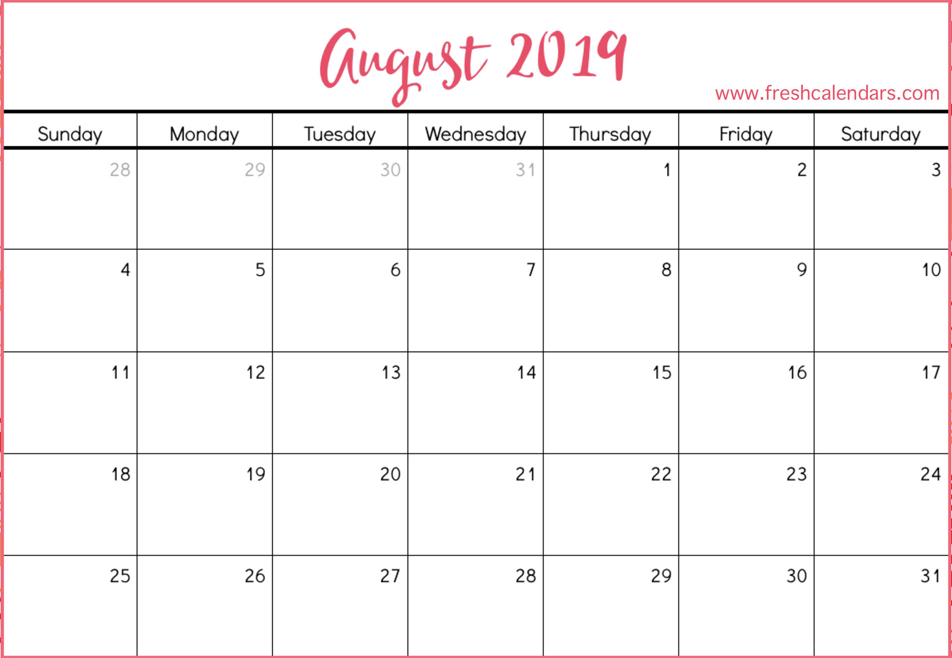 June July August 2019 Calendar Printable.August 2019 Calendar Printable Fresh Calendars