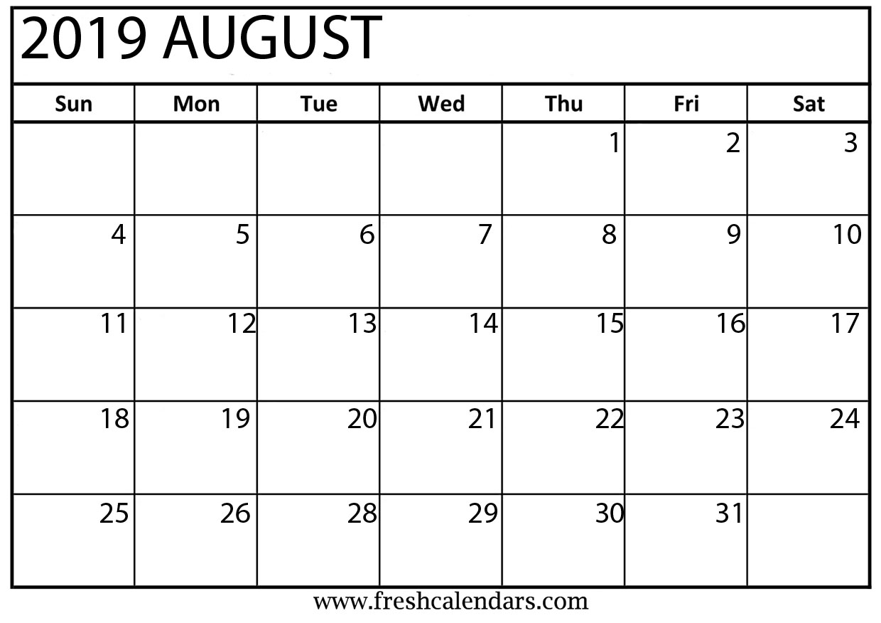 It's just an image of Revered August Printable Calendars