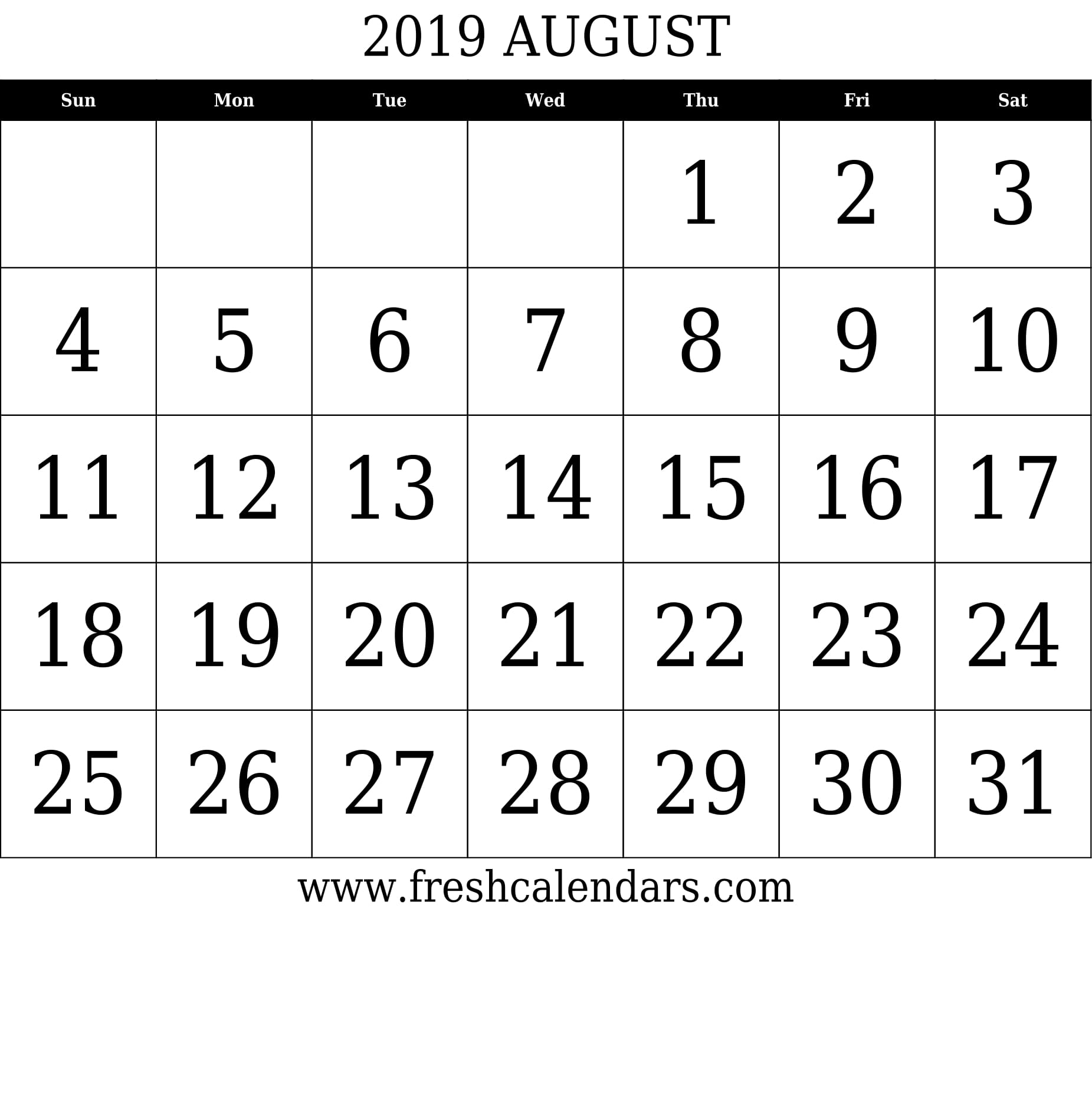 August 2019 Calendar With Large Dates