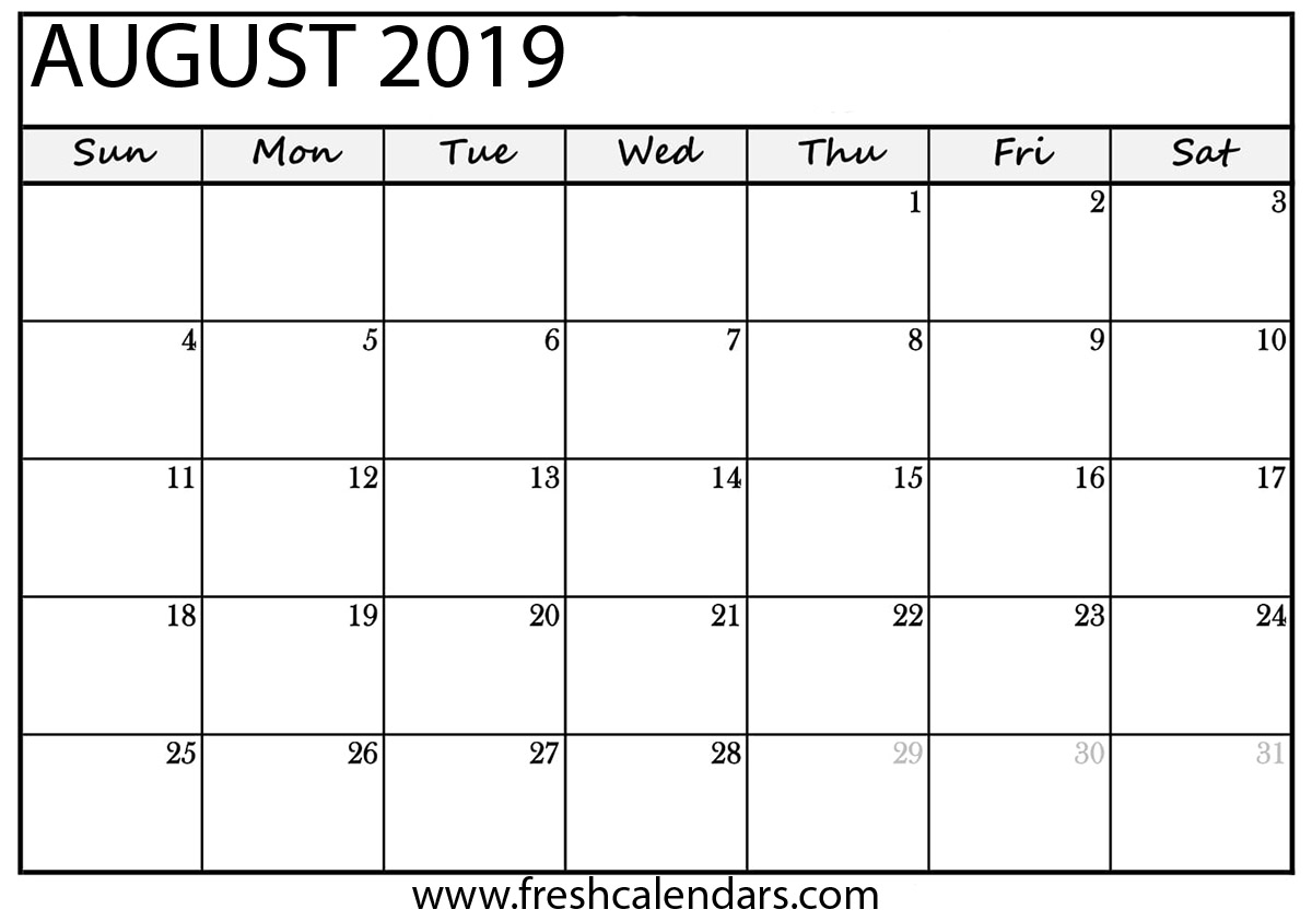 August 2019 Calendar.August 2019 Calendar Printable Fresh Calendars
