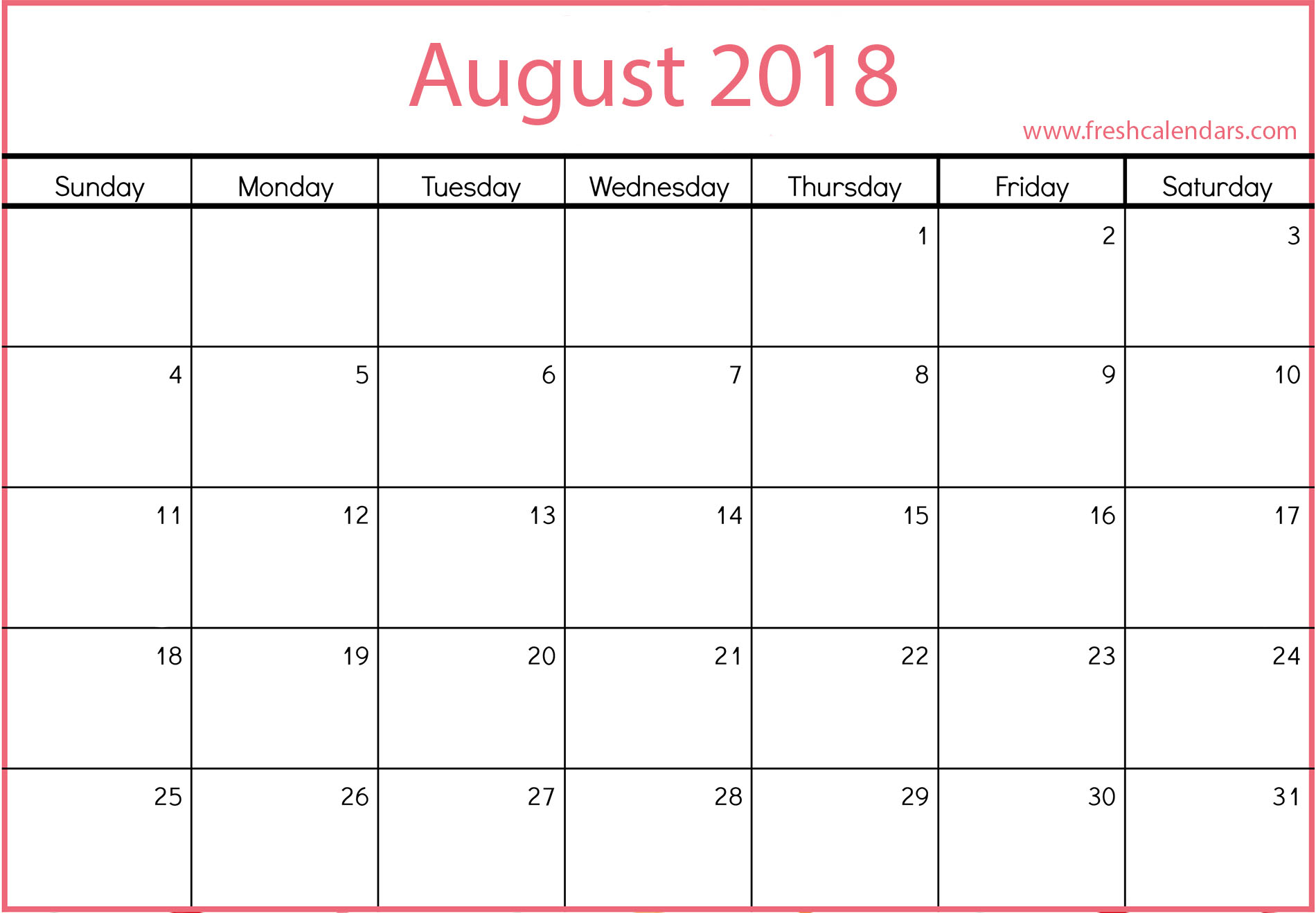 August 2019 Calendars Printable Templates