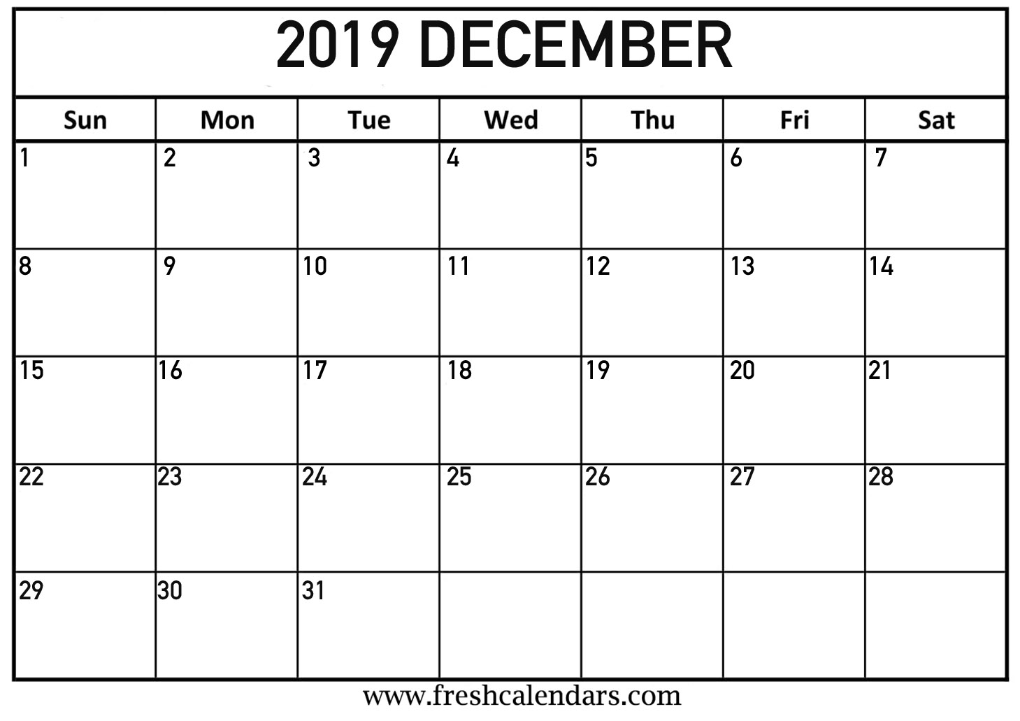Calendar Month For December 2019 December 2019 Calendar Printable   Fresh Calendars