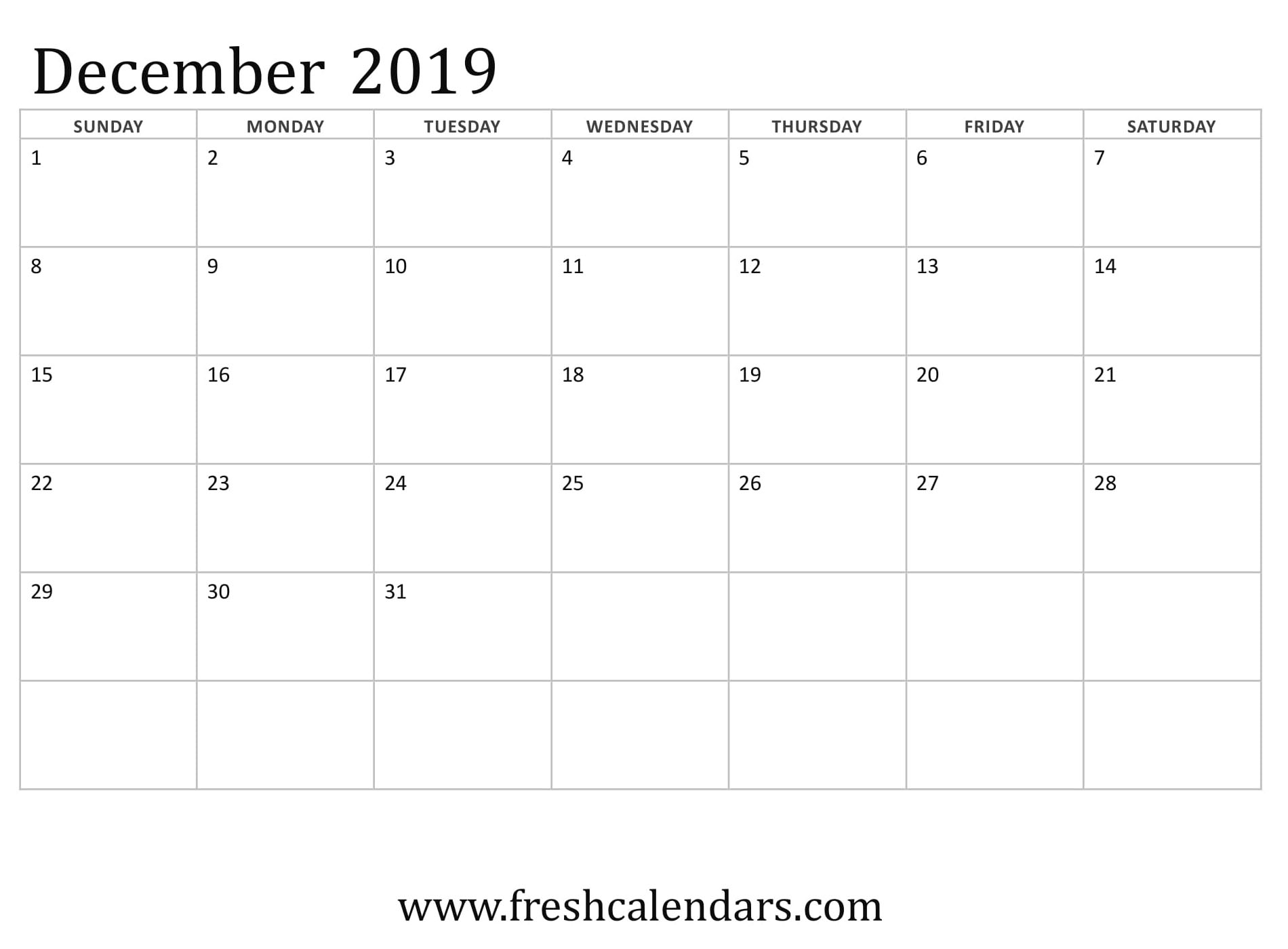 photograph relating to Printable Monthly Calendar December known as Blank December 2019 Calendar Printable Templates