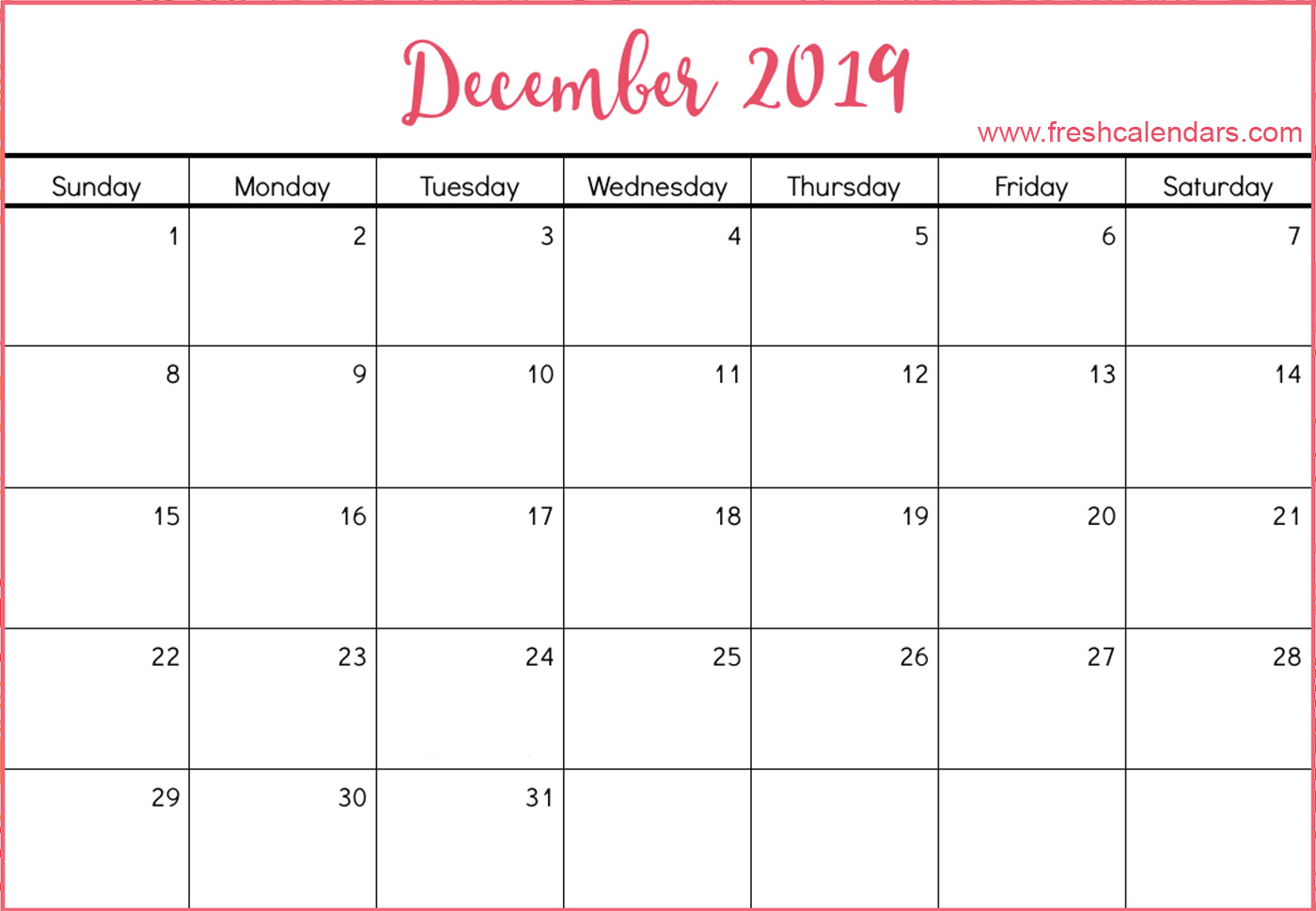 December 2019 Calendar Free Download