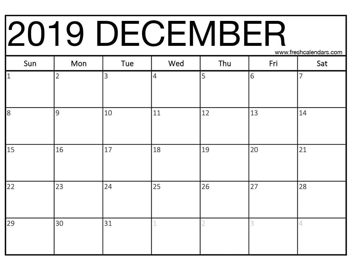 graphic relating to Dec Printable Calendar identify December 2019 Calendar Printable - Contemporary Calendars